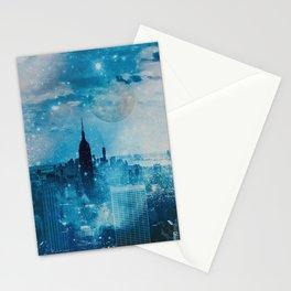 New York City Blue Night Moon Mixed Media Art Stationery Cards