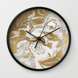 Liquid Gold Marble Wall Clock