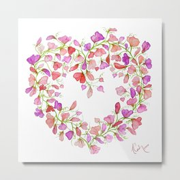 Heart themed- Sweet Pea Heart Wreath Metal Print