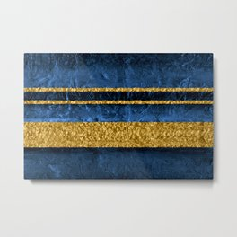 Modern Abstract Organic Texture Blue and Gold Metal Print
