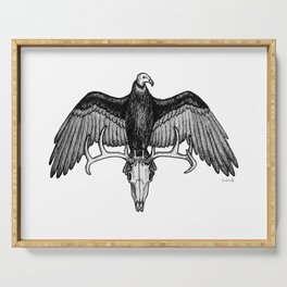 The Omen - Eerie Turkey Vulture on Stag Skull Bird Ink Illustration Serving Tray
