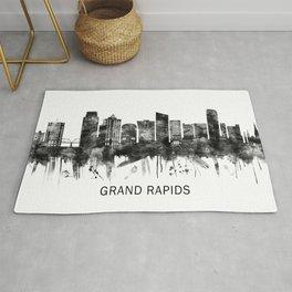 Grand Rapids Michigan Skyline BW Rug