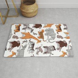 Origami safari animalier // white background orange giraffes Rug