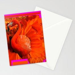 ART DECO  Saffron Flamingo Orange  Fuchsia Fantasy Painting Stationery Cards