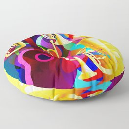 Colorful music instruments with guitar, trumpet, musical notes, bass clef and abstract decor Floor Pillow