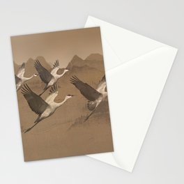 Cranes Flying Over Mongolia Stationery Cards