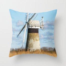 St Benets Drainage Mill, Norfolk Broads Throw Pillow