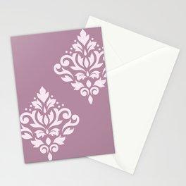 Scroll Damask Art I Pink on Mauve Stationery Cards
