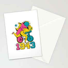 A reworked Bicycle acid 1943 on a tie dye background. Stationery Cards