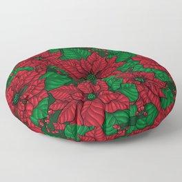 Poinsettia, Christmas pattern Floor Pillow