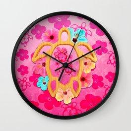 Hawaiian Pink Turtle Wall Clock