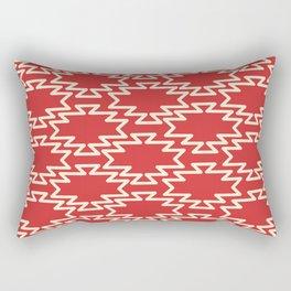 Southwest Azteca - Geometric Pattern in Cream and Retro Christmas Red Rectangular Pillow