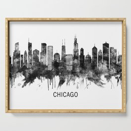 Chicago Illinois Skyline BW Serving Tray