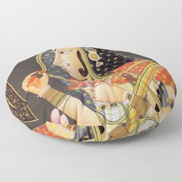 Bani Thani female portrait painting in traditional Rajasthani, the Mona Lisa of India  Floor Pillow