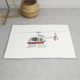 White and Red Helicopter Rug