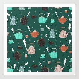 Winter mood teapots pattern Art Print