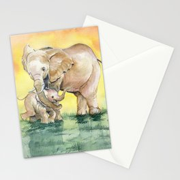 Colorful Mother's Love - Elephant Stationery Cards