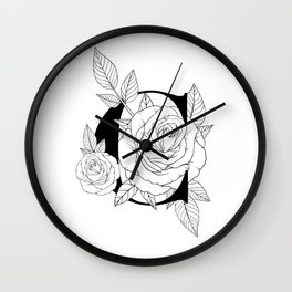 Monogram Letter C with Roses Line Art Wall Clock