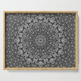 Black and white mandala , mandala , kaleidoscope Serving Tray