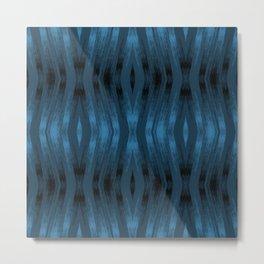 Blue and black wavy textured stripes. Metal Print