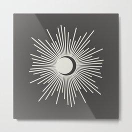 Sun and Moon - Charcoal Gray  Metal Print