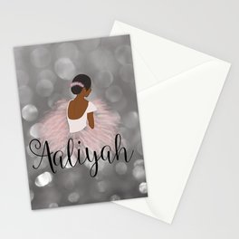 African American Ballerina Dancer Personalized Name AALIYAH Stationery Cards