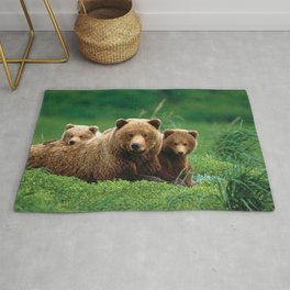 Spectecular Grizzly Bear Mother With Adorable Two Cubs In Meadow Ultra HD Rug