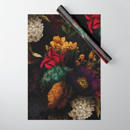 Midnight Hours Dark Vintage Flowers Garden Wrapping Paper