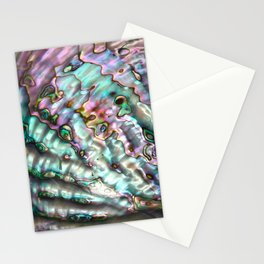 Glowing Cotton Candy Pink & Green Abalone Mother of Pearl Stationery Cards
