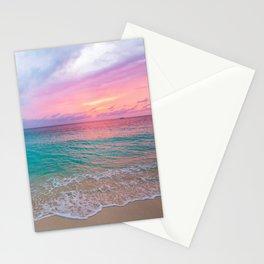 Aerial Photography Beautiful: Turquoise Sunset Relaxing, Peaceful, Coastal Seashore Stationery Cards