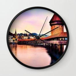Lucerne, Switzerland Chapel Covered Bridge Wall Clock