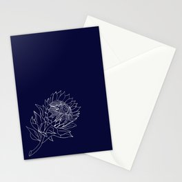 King Protea Outline - Navy and White Stationery Cards