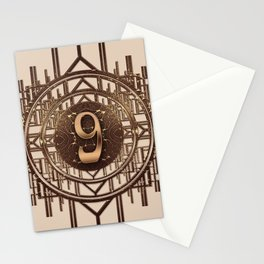 Art Deco Vintage Characters - Number Nine Gold 9 Stationery Cards