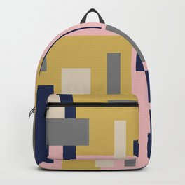 Modern Geometric Color Block Pattern in Pink, Mustard, Blue, Gray, and Taupe Backpack
