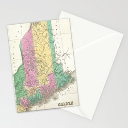 Vintage Map of Maine (1827) Stationery Cards