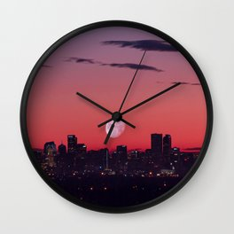 Super Moon City // View of Downtown Denver Colorado Redish Blue Skyline Wall Clock