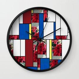 Mixed color Poinsettias 3 Art Rectangles 4 Wall Clock