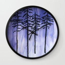 Lavender Pine Trees Wall Clock