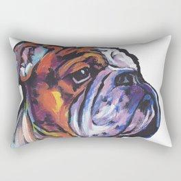Fun English Bulldog Dog Portrait bright colorful Pop Art Painting by LEA Rectangular Pillow