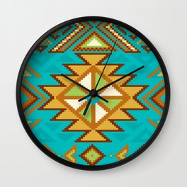 Native Aztec Tribal Turquoise Pattern Wall Clock