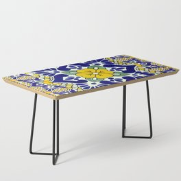 talavera mexican tile in yellow and blu Coffee Table