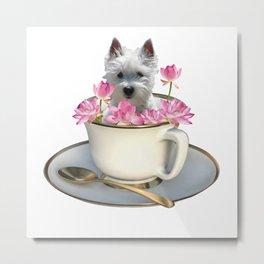 Coffee Cup -- Foxterrier Dog - Lotos Flowers Metal Print