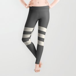 Grey Solid with Treble Ivory Stripes Minimalist Color Block Pattern Leggings