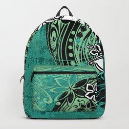Samoan Jungle Green Tribal Grunge Backpack