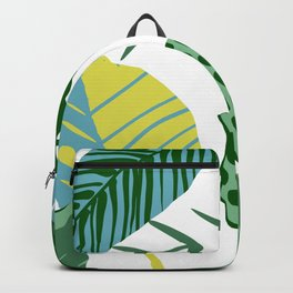 Mid-Century Modern Teal, Mustard & Mint-Colored Leaves Backpack
