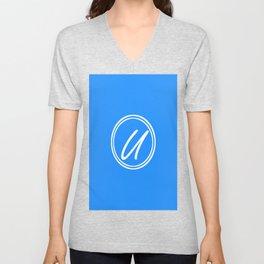 Monogram - Letter U on Dodger Blue Background Unisex V-Neck