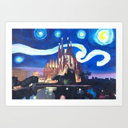 Starry Night in Barcelona - Van Gogh Inspirations with Sagrada Familia Art Print