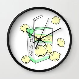 Japanese Lemon Juice Box 90s Aesthetic Pastel Anime Wall Clock
