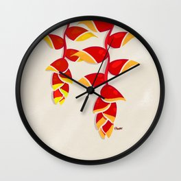 Lobster Claw Heliconia Wall Clock