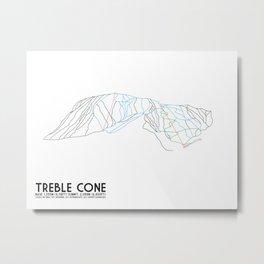Treble Cone, Wanaka NZ - Minimalist Trail Art Metal Print